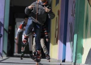 """As soon as my classes end I get to have fun playing different games. I like gliding around the school with my skates. My school is a safe place, it's my favourite place,"" commented Mohammad Hirzallah a nine year-old, a fourth grade student at the UNRWA Al-Bahrain Basic Boys' School 'A'. © 2019 UNRWA Photo by Husain Jaber"