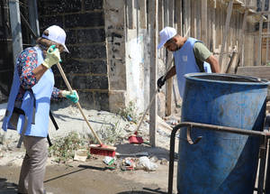 UNRWA staff worked together to clean the streets in Aida Palestine refugee camp in the West Bank ahead of the Eid al-Adha holiday as part of an environmental cleaning campaign funded by the Kindgom of Saudi Arabia through the Saudi Fund for Development. #UNRWA #SFD #forPalestinerefugees © 2019 UNRWA Photo by Abeer Ismail