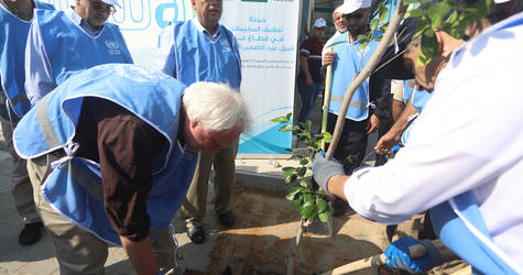 In Gaza, the UNRWA Director of Operations in Gaza, Matthias Schmale, helped plant a tree at the Nuseirat Elementary School for Girls in the Nuseirat Palestine refugee camp as part of an effort to beautify the streets of the camp ahead of the holiday.  #UNRWA #SFD #forPalestinerefugees © 2019 UNRWA Photo
