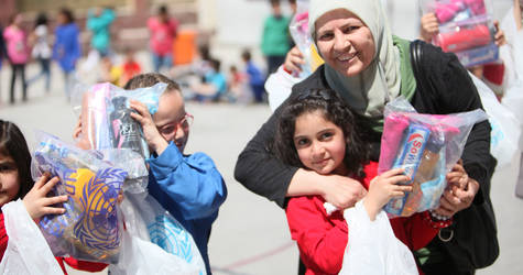 UNRWA staff and school community come together with pupils for Healthy Lifestyle campaign. Nahla Zeidan School, Damascus © 2016 UNRWA Photo by Taghrid Mohammad