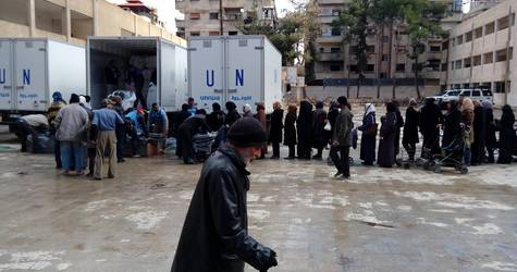 Yalda Distribution Point, Yalda, Southern Damascus, Syria, February 2016. © 2016 UNRWA Photo