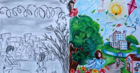 One of the winning drawings in the Summer Fun Weeks drawing contest exhibited in the Summer Fun Weeks art gallery at the UNRWA Gaza Training Centre. © 2016 UNRWA Photo by Heba Kureizem