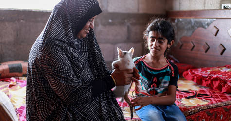 Jamila Hamad, her daughter Dina and their little cat  on the bed in their one-bedroom flat located on the rooftop of a four-storey house in Beit Hanoun, northern Gaza. © 2016 UNRWA Photo by Rushdi al-Saraj.