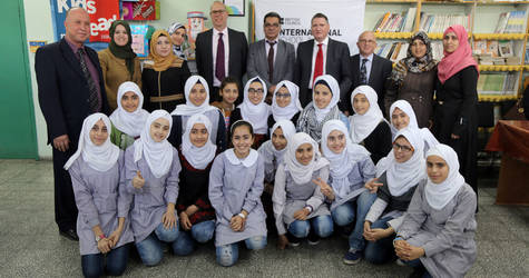 Mr. Adrian Chadwick, OBE, Regional Director Middle East and North Africa at the British Council, visiting the UNRWA Asma Elementary Co-ed A School in Gaza. © 2016 UNRWA Photo by Rushdi al-Sarraj