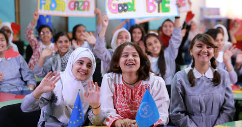 UNRWA students say goodbye to their peers in the Netherlands at the end of their first 'My Voice-My School' Skype call at Al-Remal School in Gaza City. © 2016  UNRWA Photo by Tamer Hamam
