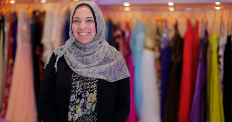 Thirty-nine-year-old Hanan Ahmed in her dress shop in Gaza City. © 2017 UNRWA Photo by Rushdi al-Saraj