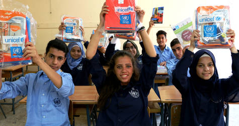 Palestine refugee students at Haifa School in Lebanon are excited to go back to school. © 2017 UNRWA Photo by Firas Abo Aloul
