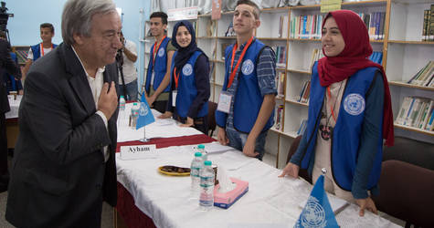 Secretary-General of the United Nations, Mr. António Guterres, meets UNRWA Central School Parliament students. © 2017 UNRWA Photo by Tamer Hamam