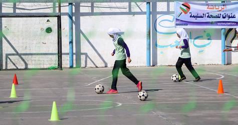 UNRWA students during football training session. © 2017 UNRWA Photo by Rushdi Al-Saraj