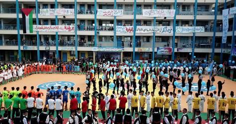 "A ceremony under the name ""Future Sports Pioneer"" organized by the UNRWA Education Programme at UNRWA's New Gaza Elementary Boys School © 2018 UNRWA Photo by Abdallah Al-Haj."