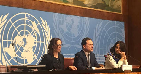 UNRWA Commissioner-General Pierre Krähenbühl (center) calls for a total of US$ 1.2 billion to fund the Agency's vital core services and life-saving humanitarian aid for 5.4 million Palestine refugees across the Middle East during press conference at the United Nations in Geneva on 29 January 2019. © UNRWA Photo by Maria Mohammedi
