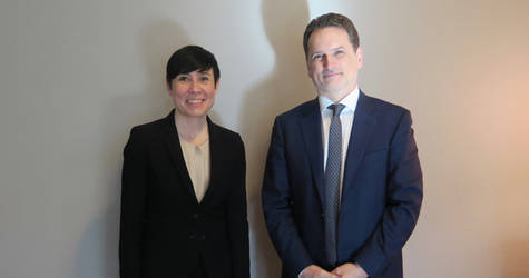 Norwegian Minister of Foreign Affairs Ine Eriksen Søreide and UNRWA Commissioner-General Pierre Krähenbühl attend a signing ceremony to formalize support from the Government of Norway to UNRWA. © 2019 UNRWA Photo by Giorgia Alvino.