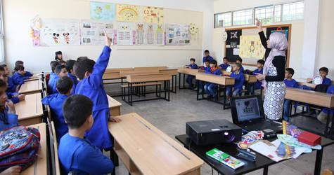 طلاب في مدرسة الأونروا - المجدل حيفا في دمشق ، سوريا. الحقوق محفوظة للأونروا ، 2019 ، تصوير تغريد محمد.