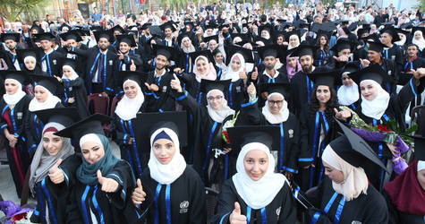 Graduates photographed during the UNRWA Damascus Training Centre Graduation Ceremony 2019. ©UNRWA photo by Taghrid Mohammad