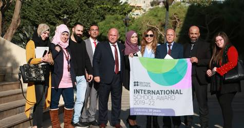 UNRWA school staff accept an International School Award accreditation in Beirut, Lebanon. © 2019 UNRWA photo by Rabie Akel.