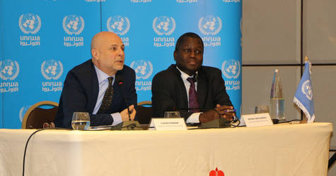 Director of UNRWA Affairs in Lebanon, Mr. Claudio (left) and Director of UNRWA Affairs in Syria, Mr. Amanya Michael-Ebye launch UNRWA 2020 funding requirements. © 2020 UNRWA photo by Maysoun Mustafa
