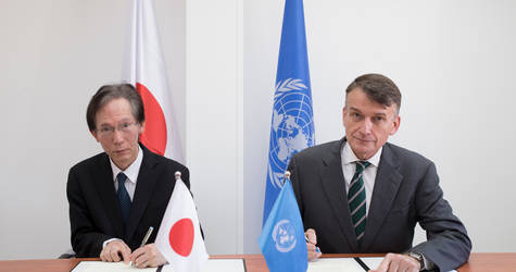 The Representative of Japan to Palestine, Mr. Masayuki Magoshi (left), and Mr. Christian Saunders, Acting UNRWA Commissioner-General (right), signed a contribution agreement in the amount of US$22.4 million in support of UNRWA services for Palestine refugees at UNRWA headquarters in East Jerusalem on 27 January 2020. © 2020 UNRWA Photo by Marwan Baghdadi.