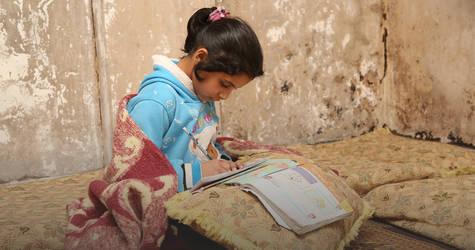 اللاجئون الفلسطينيون يتشبثون باستمرار تعليمهم، على الرغم من التحديات والصراع والضائقة التي تواجههم. مخيم درعا في سوريا  © 2019 الاونروا.