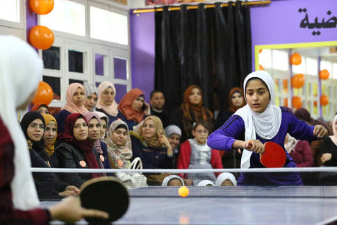 A sporting event at the closing ceremony of the 16 Days Campaign against GBV © 2019 UNRWA  photo by Khalil Adwan