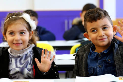 Two pupils at the New Gaza Co-Ed School, Gaza. © 2020 UNRWA Photo by Khalil Adwan