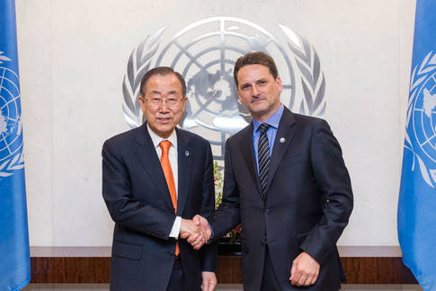 United Nations Secretary-General Ban Ki-moon (left) administered the oath of office to Pierre Krähenbühl, Commissioner-General of the UN Relief and Works Agency for Palestine Refugees in the Near East (UNRWA), 20 April 2015. The Secretary-General (left) with Mr. Krähenbühl after the swearing in. UN Photo/Mark Garten