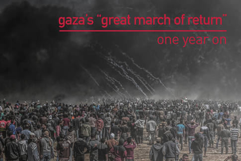 Palestinians demonstrators gather in Khuza'a on the Gaza side of the border fence between Israel and the Gaza Strip during the Great March of Return demonstration on 6 April 2018. © 2018 Photo Courtesy of Mahmoud Bassam