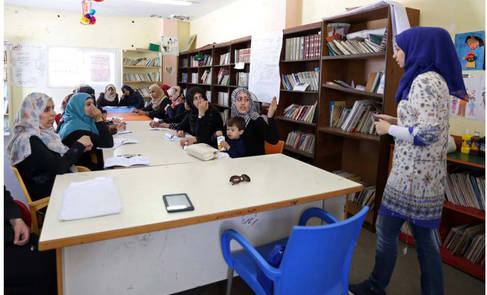 """Participants of the """"Empowerment Programme for Female-Heads of Households (FHH)"""" project – here during a training session in the Women Programme Centre in Nuseirat, central Gaza. © 2016 UNRWA Photo by Tamer Hamam"""