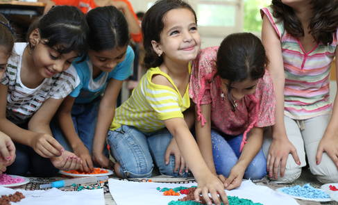 A group of students in Gaza enjoying their day during the Summer Fun Weeks. © 2015 UNRWA Photo by Tamer Hamam