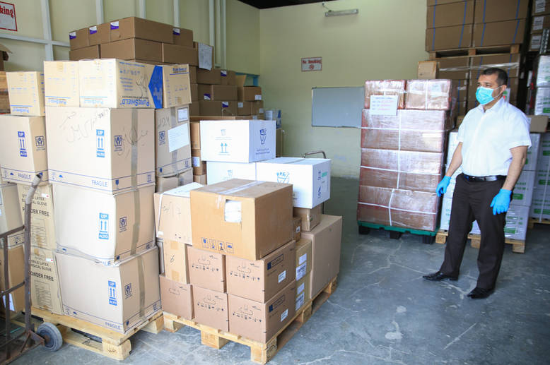 As the largest contributor to the Agency's health programme, EU support enables the provision of critical health equipment and medicines for Palestine refugees. UNRWA HQ in Amman, Jordan executes the planning and ordering of supply for the 3.5 million Palestine refugees who rely on UNRWA for health care with EU support. From Amman, supplies are shipped to the West Bank through Ashdod port, Ben Gurion Airport, and/or the Sheikh or King Hussein Bridges on the border with Jordan. Normally, supply shipments enter the oPt every four to six months, depending on need.  © 2020 UNRWA Photo by Marwan Baghdadi
