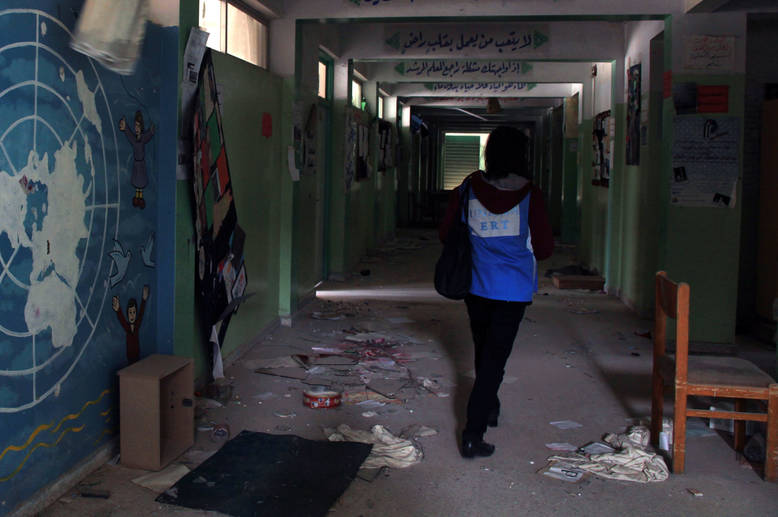 Of the 118 UNRWA school buildings across Syria, more than half are no longer operational due to destruction, lack of access or repurpose as temporary collective shelters. With only 48 schools remaining open, UNRWA is operating another 47 schools in alternative facilities to accommodate all UNRWA students. Al-Aqsa/Beit Jalah School, Husseiniyeh. © 2015 UNRWA Photo by Taghrid Mohammad