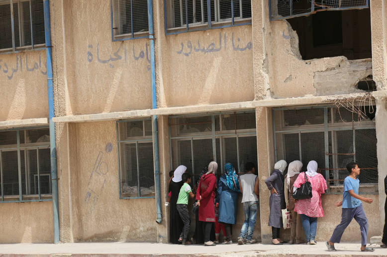 The circumstances in which teachers have to work are extremely difficult. Violence, damage, closures and other factors have left only 46 UNRWA schools operational as of September 2016. Husseiniyeh, Syria. © 2015 UNRWA Photo by Taghrid Mohammad