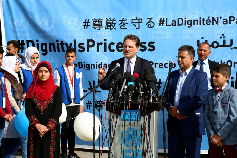 """What an honor to be in Gaza today to officially launch UNRWA's global campaign #DignityIsPriceless,"" Mr. Krähenbühl said in his speech at the launch event. © 2018 UNRWA Photo by Khalil Adwan"