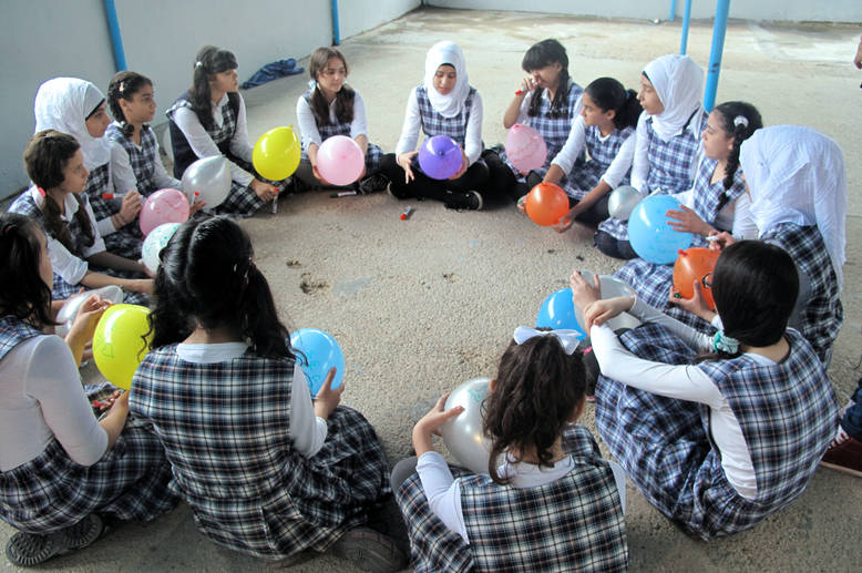 Psychosocial support activity at Nablus Girl School, Saida, Lebanon, April 2014. Monica P.Gonzalez/ UNRWA Archives