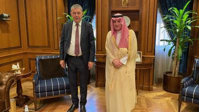 (From left) UNRWA Commissioner-General Philippe Lazzarini with H.E. Adel bin Ahmed Al-Jubeir, Saudi Minister of State for Foreign Affairs meet in Amman. © 2020 UNRWA photo by Naif Al Obaid