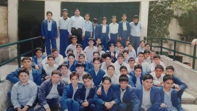 This photograph shows the Grade 9 Graduating Class of 2007 from the UNRWA Haifa Boys' School in Damascus, Syria, 2007. © Photo courtesy of Nowras Rahhal