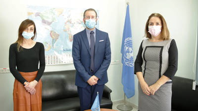 The UNRWA Acting Director for Partnerships, Marc Lassouaoui (center), meets with Sofia Ruiz del Árbol, Deputy Consul of the Consulate General of Spain in Jerusalem (right), and Eva Suàrez Leonardo, Head of the Spanish Cooperation Office in East Jerusalem (left), at the UNRWA headquarters in East Jerusalem for the announcement of Spain's additional contribution of EUR 5 million in support of the Agency's 2020 Programme Budget. © 2020 UNRWA Photo