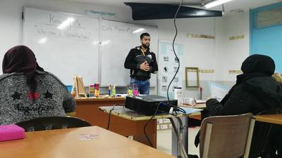 Student Abdallah El Hussein in class at the UNRWA Siblin Training Centre, Lebanon. © 2019 UNRWA Photo