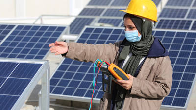 UNRWA student, Ghada Kerryam, practicing installation and maintenance of photovoltaic systems at UNRWA Gaza Training Centre (GTC).©Photo credit 2020 UNRWA Photo by Khalil Adwan.