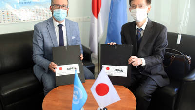 The Acting Director of Partnerships of UNRWA, Marc Lassouaoui (left) and the Representative of Japan to Palestine, H.E. Ambassador Mr Magoshi Masayuki (right), signed two contribution agreements in support of Palestine refugees and amounting to approximately US$ million at UNRWA offices in East Jerusalem. © 2021 UNRWA Photo