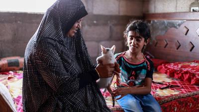 جميلة حمد وطفلتها دينا وقطتهم الصغيرة يجلسون على السرير في شقتهم المكونة من غرفة واحدة على سطح مبنى مكون من أربعة طوابق في بيت حانون، شمال قطاع غزة. جميع الحقوق محفوظة: الأونروا 2016، تصوير رشدي السراج.