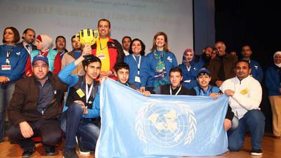 طلبة الأونروا يفوزون بالمركز الأول في مسابقة الروبوت