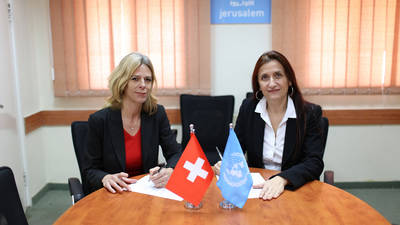 Véronique Hulmann, Director of Cooperation for Gaza and the West Bank at the Swiss Agency for Development and Cooperation, and Francoise Vanni, Director of External Relations and Communications at UNRWA, discuss the Swiss Confederation's multi-year agreement with UNRWA that will provide CHF 75.5 million (approximately US$ 73.7 million) to the Agency's core programmes and services over the 2017-2020 period. © 2017 UNRWA Photo by Marwan Baghdadi
