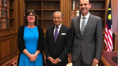 The Prime Minister of Malaysia, His Excellency Tun Dr. Mahathir bin Mohamad, center, today received UNRWA Deputy Commissioner-General Sandra Mitchell, left, who was accompanied by UNRWA Director of Finance, Shadi El-Abed, right. © 2018 UNRWA Photo by Katherine Reyes