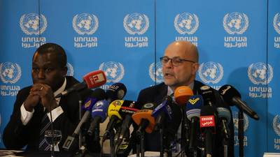 Director of UNRWA Affairs in Lebanon, Claudio Cordone, and Acting Director of UNRWA Affairs in Syria, Michael-Ebye Amanya, launch the 2019 UNRWA Syria Regional Crisis Emergency Appeal totaling US$ 276.9 million. © 2019 UNRWA Photo by Rabie Akel