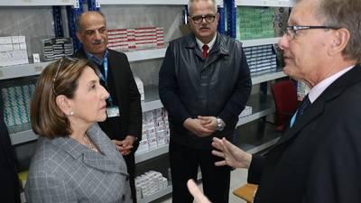 Director of UNRWA Operations in Jordan, Roger Davies welcomes Spanish Ambassador to Jordan, Her Excellency Aránzazu Bañón Dávalos to an UNRWA health centre. © 2018 UNRWA Photo by Dania Al Batayneh