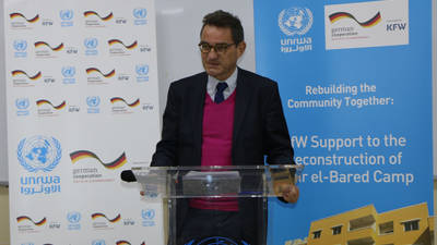 German Ambassador to Lebanon H.E. Dr. Georg Birgelen speaks at the contribution announcement event in Beirut on Monday. @2019 UNRWA photo by Maysoun Mustafa