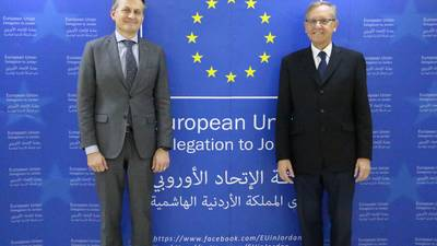 Ambassador of the European Union to Jordan H.E. Mr. Andrea Matteo Fontana and Director of UNRWA Affairs in Jordan Mr. Roger Davies photographed at the European Union contribution announcement ceremony in Amman, Jordan.   © 2018 UNRWA photo by Manal Sultan