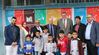 The United Nations Special Coordinator for Lebanon, Mr. Ján Kubiš and the Director of UNRWA Affairs in Lebanon, Mr. Claudio Cordone, touring an UNRWA school in the Palestine refugee camp of Ein El Hilweh. © 2019 UNRWA Photo by Ahmad Mahmoud