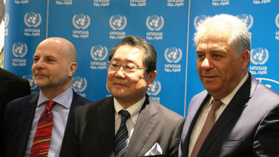 Director of UNRWA Affairs in Lebanon, Claudio Cordone, Ambassador of Japan to Lebanon, His Excellency Matahiro Yamaguchi  and the Palestinian Ambassador to Lebanon His Excellency Ashraf Dabbour attend a ceremony to celebrate support from the Government of Japan.   ©2019 UNRWA Photo by Rabie Akel