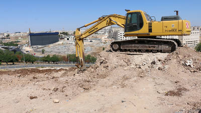 A bulldozer is working at the construction site of the new UNRWA health centre in Zohour area (near Amman) in late July 2019.  The new health centre is expected to be function by August 2020. © 2019 UNRWA Photo by Dania al-Batayneh